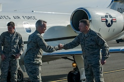 Col. Richard McComb, Joint Base Charleston commander, greets Gen. Paul Selva, Air Mobility Command commander Jan. 7, 2013, at Joint Base Charleston – Air Base, S.C.  While in Charleston, Selva hosted an All Call for JB Charleston Airmen. During the All Call, the general presented his three priorities for Mobility Airmen: Executing the mission; Cultivating a caring and respectful workplace; and Training Airmen.  (U.S. Air Force photo/Senior Airman George Goslin)