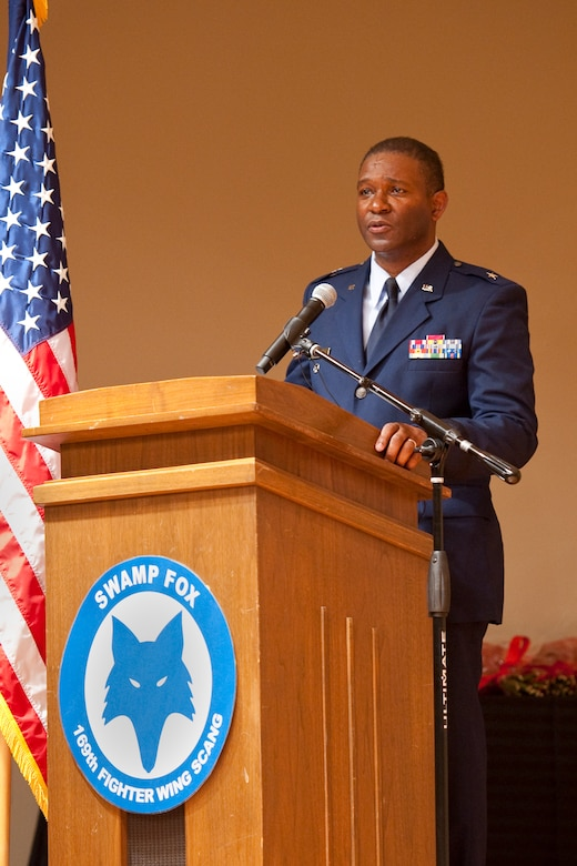 Newly promoted Brig. Gen. Calvin H. Elam makes his remarks during a ceremony at McEntire Joint National Guard Base on January 13, 2013. Elam becomes the South Carolina Air National Guard's first black general officer. Elam has served as the Assistant Adjutant General for Air for the South Carolina National Guard since January 2012. As a civilian, he is Chief Executive Officer for Elam Financial Group. (National Guard photo by Staff Sgt. Jorge Intriago/Released)