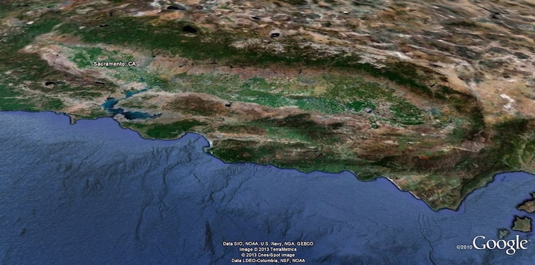 Looking eastward from over the Pacific, California's Central Valley is carved out between coastal and western mountain ranges and includes some of the world's most productive farmland.
