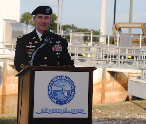 Jacksonville District Commander Col. Alan Dodd, spoke alongside federal and state partners, at a dedication ceremony for the C-111 Spreader Canal Western Project in Homestead, Fla., hosted by the South Florida Water Management District Jan. 11, 2013.
