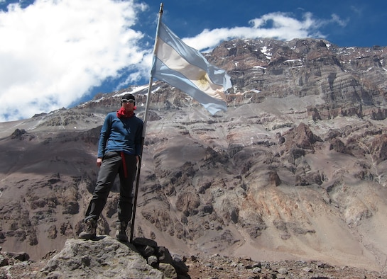 Capt. Colin Merrin, member of the USAF 7 Summits Challenge team, stands at Aconcagua base camp located in the Andes mountain range in Argentina.  His trek up Aconcagua helped prepare him for his upcoming goal to climb Mount Everest.  (U.S. Air Force Photo/Capt. Colin Merrin)