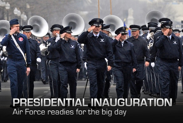The United States Air Force Band marches along Pennsylvania Ave. during the inauguration practice January 13, 2012 in Washington D.C. Department of Defense photo by EJ Hersom