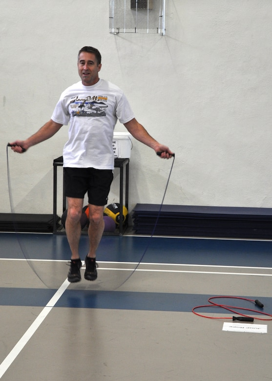 GOODFELLOW AIR FORCE BASE, Texas – Paul Buckingham, 17th Medical Group clinical social master, jumps rope as part of the circuit training being held at the Carswell Field House here, Jan. 14. This circuit training included stations for squats, bicep curls and more. (U.S Air Force photo/ Airman 1st Class Joshua Edwards)