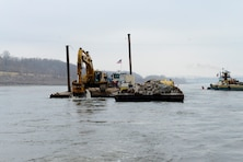 The removal of 890 cubic yards of limestone from the navigation channel on the Mississippi River near Thebes, Ill., began Dec. 17, 2012. This is just one phase of the action the Corps is taking to improve the navigation channel for the river industry.