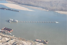 United States Army Corps of Engineers, DREDGE POTTER, dredging a section of Upper Mississippi River, south of St. Louis Harbor.
