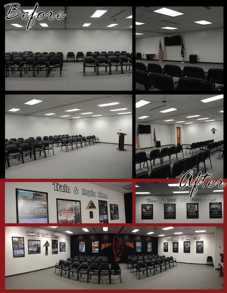 "Before and after look at the 361st Training Squadron ""pride"" room located in the propulsion building. (U.S. Air Force Photo & Graphic/Kimberly Parker)"