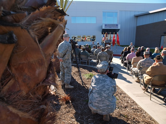 Maj. Gen. William D. Frink, Jr., 79th Sustainment Support Command commander addresses fellow Soldiers, community members and civic leaders at the opening of the Army Reserve Center at Joint Forces Training Base, Los Alamitos, Calif., Jan. 12. The facility is certified LEED Gold under guidelines established by the U.S. Green Building Council who rates a project for its design and achievement in categories like sustainability, water efficiency, energy conservation and design innovation.
