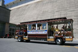 A trolley car carries Table Rock Lake visitors to the dam for guided tours. In 2012 the Ozark Rivers Heritage Foundation guided roughly 7,700 tourists through Table Rock Dam and Powerhouse.