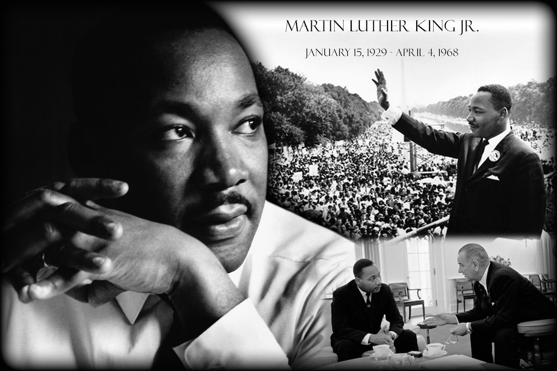 Dr. Martin Luther King, Jr. is widely considered the most influential leader of the American civil rights movement. King, both a Baptist minister and civil rights activist, had a tremendous impact on race relations in the United States, beginning in the mid-1950s. He was a visionary leader who was intensely devoted to achieving social justice through non-violent means. (U.S. Air Force graphic/Airman 1st Class Eboni Reece)