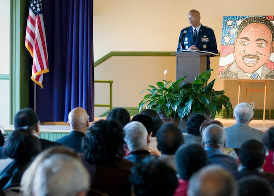 Air Force Vice Chief of Staff Gen. Larry Spencer speaks at a Martin Luther King, Jr. Commemoration at the Robert Russa Moton Museum in Farmville, Va., Jan. 12. Spencer recounted his mother's experience on April 23, 1951, when she and more than 450 other students walked out of the all-black, R. R. Moton High School in Farmville, demanding equality. (U.S. Air Force photo/Lt. Col. John Sheets)