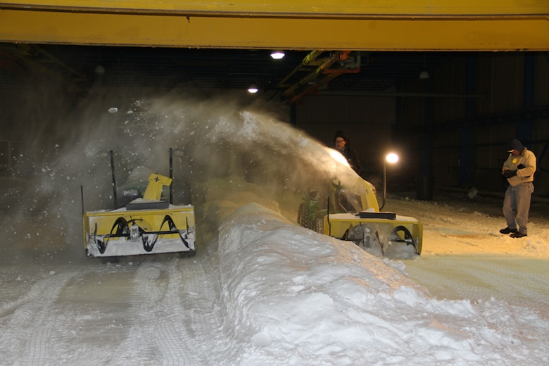 John Deere researchers evaluated a new cab design for performance and functionality within ERDC Cold Regions Research and Engineering Laboratory's Ice Engineering Facility.