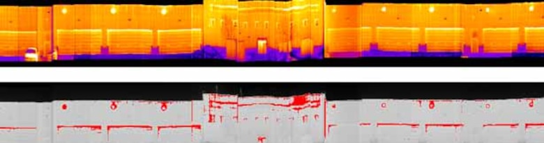 This composite image shows a thermal panoramic image (top) shot in a drive-by scan and an image of the automatically detected and segmented energy leaks (bottom).