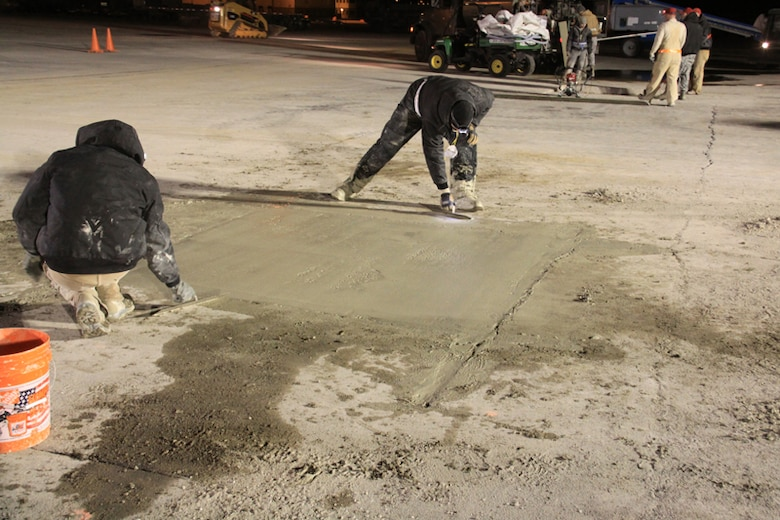 Another view, screeding practice by RED HORSE members.