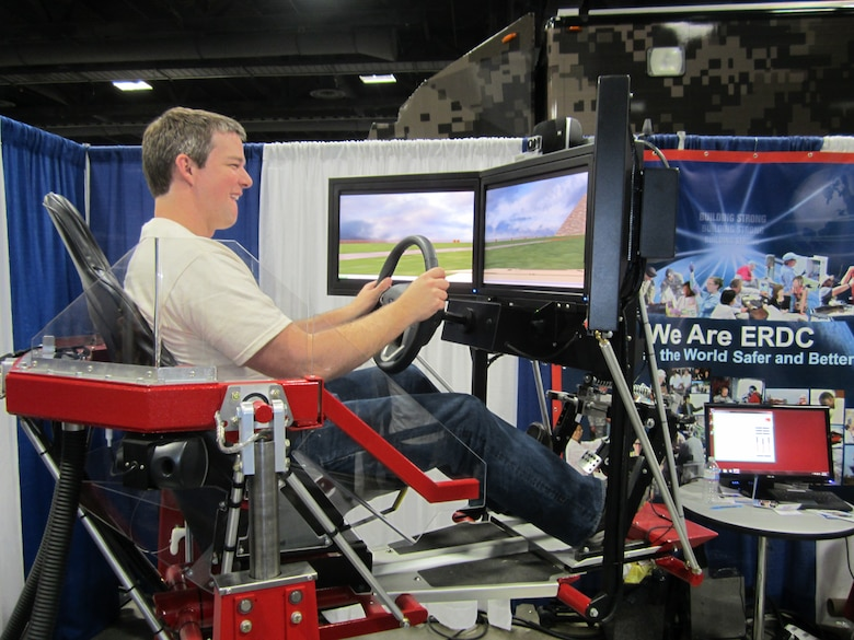 The Simulation-bAsed VEhicle Control Training (SAVE-CT) driving simulator allowed festival participants to navigate a virtual vehicle over a challenging course.