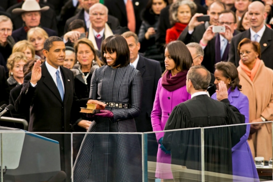 President Barack Obama takes the oath of office from Supreme Court Chief Justice John G. Roberts Jr., right, in a public ceremony at the U.S. Capitol before thousands of people in Washington, D.C., Jan. 21, 2013. Roberts administered the oath in an official ceremony at the White House, Jan., 20, 2013. (White House photo by Sonya N. Hebert/Released)