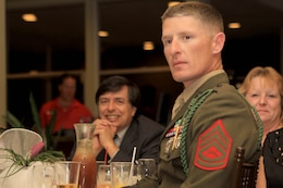 Gunnery Sgt. Andy Darnell Jr. was named the Armed Services YMCA's military volunteer of the year during the 69th annual Board Installation and Volunteer Recognition Dinner held in the Eagle's Landing Banquet room of the golf course here on Jan. 18.