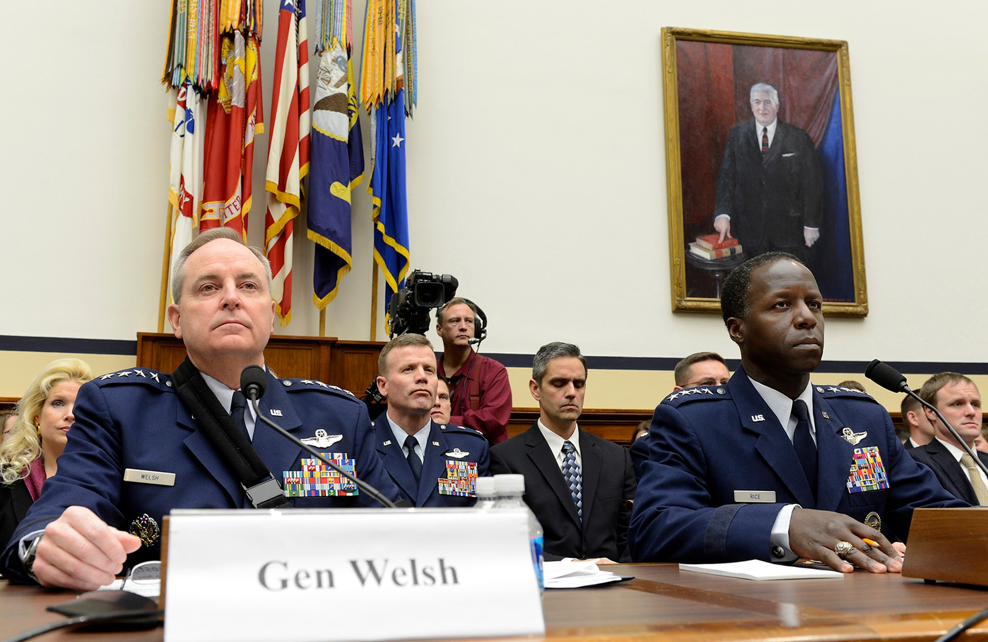 Air Force Chief of Staff Gen. Mark A. Welsh III and Gen. Edward A. Rice Jr., commander of Air Education and Training Command, appear before the House Armed Services Committee on Jan. 23, 2013, for a hearing on sexual misconduct at Basic Military Training at Joint Base San Antonio-Lackland, Texas.  Welsh and Rice discussed the findings of the Basic Military Training commander-directed investigation and efforts to stop sexual assault within the service.  (U.S. Air Force photo/Scott M. Ash)
