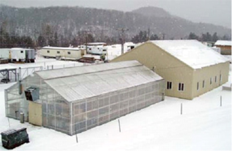 The greenhouse at ERDC's Cold Regions Research and Engineering Laboratory (CRREL) is used for germination and root-growth studies to support basic and field research in revegetation and phytoremediation.