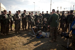 Gunnery Sgt. Larry J. Arnold shows Marines from the Marine Corps Base Butler team the proper prone position Jan. 18 during the first stages of the Far East Division Matches at Camp Schwab. During the matches, Marines with various III Marine Expeditionary Force units will compete using the M16A2 service rifle and M9 service pistol. Arnold is the coach for the MCB Butler team.