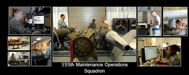 "The 355th Maintenance Operations Squadron is home of the ""Spartans"". The squadron provides 24 hour aircraft maintenance command and control capability, and directs the maintenance scheduling and analysis programs. It provides for group-level maintenance quality assurance, weapons load standardization and engine management in support of Davis-Monthan Air Force Base. (U.S. Air Force photo by Senior Airman Saphfire Cook)"