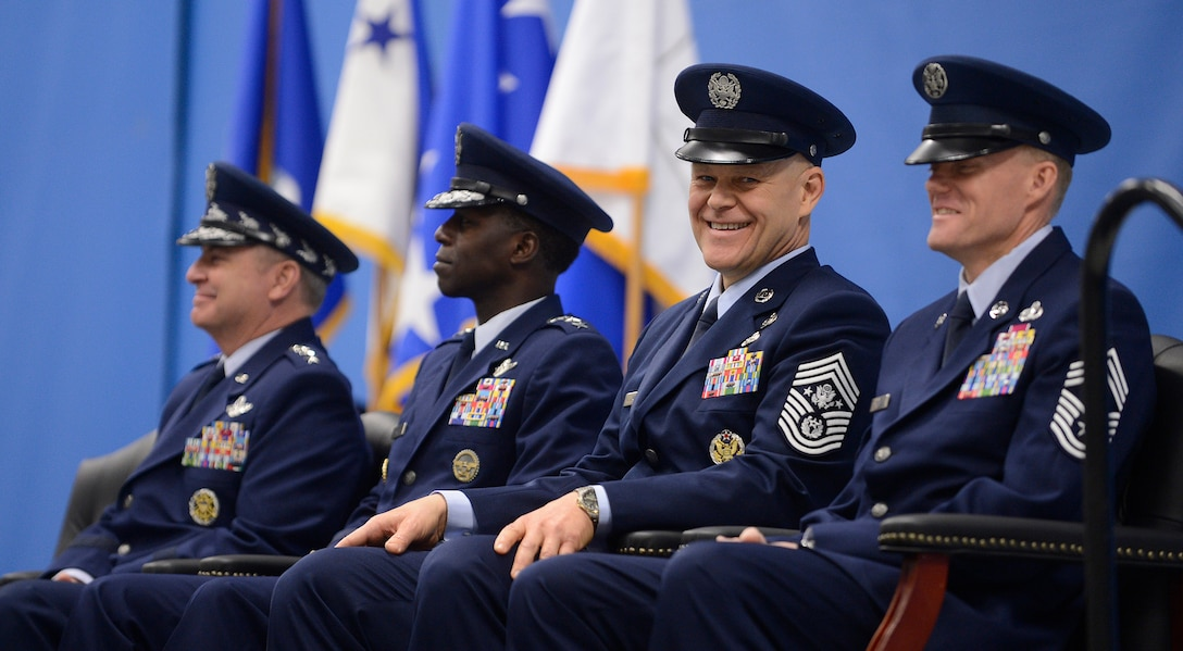 Chief of Staff of the Air Force Gen. Mark A. Welsh III, (left), Air Education and Training Command Commander Gen. Edward A. Rice Jr., Chief Master Sgt. of the Air Force James Roy and Chief Master Sgt. James Cody are center stage as hundreds of Airmen and distinguished visitors gathered at Joint Base Andrews, Md. on Jan. 24, 2013 to pay tribute to Roy during his retirement ceremony and to welcome Cody as the 17th Chief Master Sgt. of the Air Force. Roy is retiring after more than 30 years of service. (U.S. Air Force photo/Jim Varhegyi)