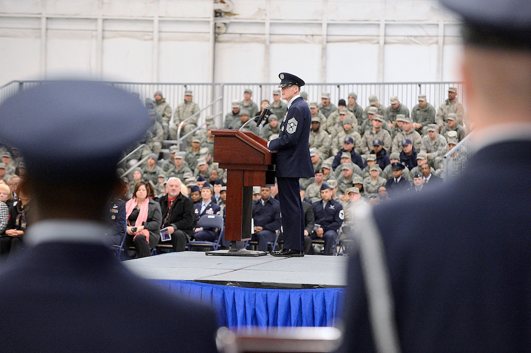 The 17th Chief Master Sgt. of the Air Force James Cody addresses the audience in attendance at assuming his new position at Joint Base Andrews, Md., on Jan 24, 2013.  Cody talked about looking forward to getting to the bases, meeting Airmen and working their challenges. (U.S. Air Force photo/Scott M. Ash)