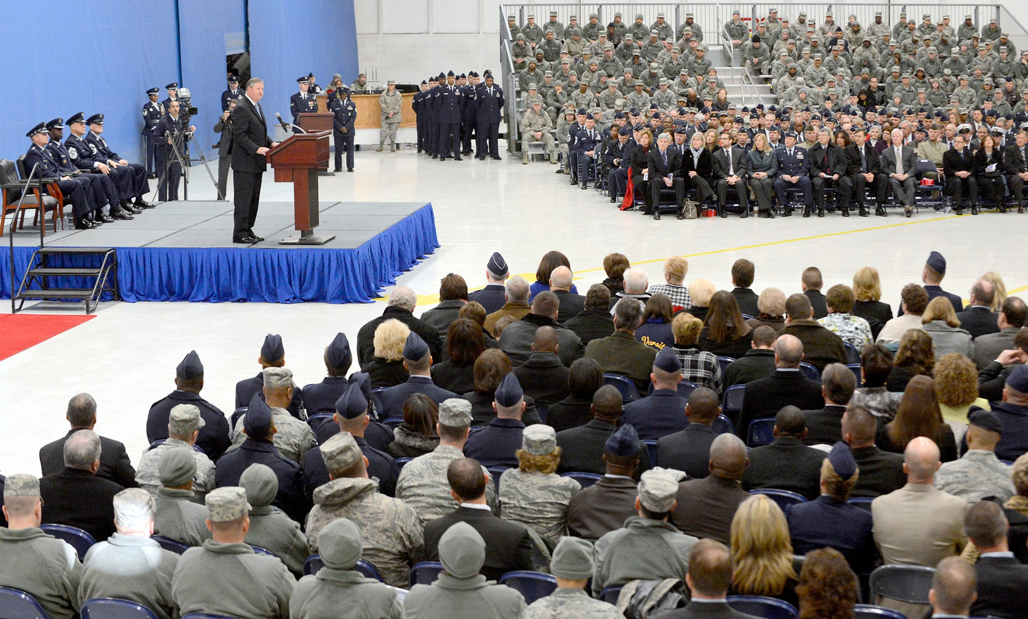 Secretary of the Air Force Michael Donley expresses his thanks to Chief Master Sgt. of the Air Force James Roy upon his retirement and welcomes new Chief Master Sgt. of the Air Force James Cody during a transition ceremony at Joint Base Andrews, Md., Jan 24, 2013.  (U.S. Air Force photo/Scott M. Ash)