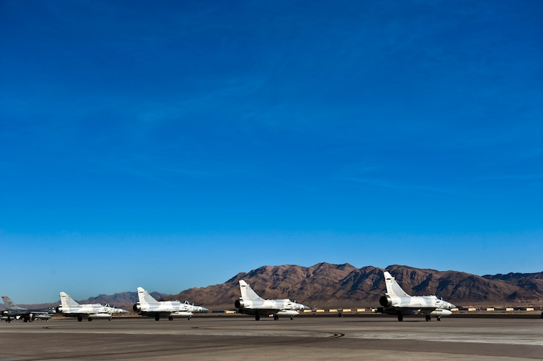 A four-ship of United Arab Emirates Air Force Mirage 2000-9s prepare to depart for a training mission during Red Flag 13-2, Jan. 22, 2013, at Nellis Air Force Base, Nev. The Mirage 2000 is a French multirole, single-engine fourth-generation jet fighter. (U.S. Air Force photo/Senior Airman Brett Clashman)