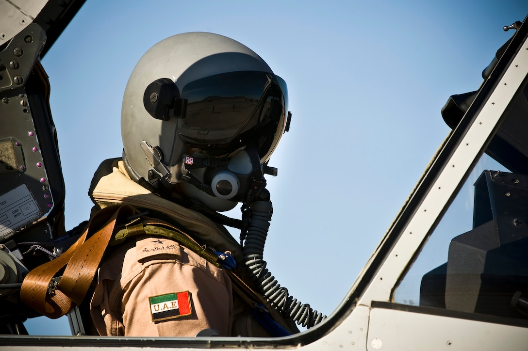 A United Arab Emirates Air Force pilot performs pre-flight checks in a Mirage 2000-9 during Red Flag 13-2, Jan. 22, 2013, at Nellis Air Force Base, Nev. The UAE Air Force Mirage 2000-9 will participate in Red Flag 13-2 from Jan. 21 through Feb. 1, 2013. (U.S. Air Force photo/Senior Airman Brett Clashman)