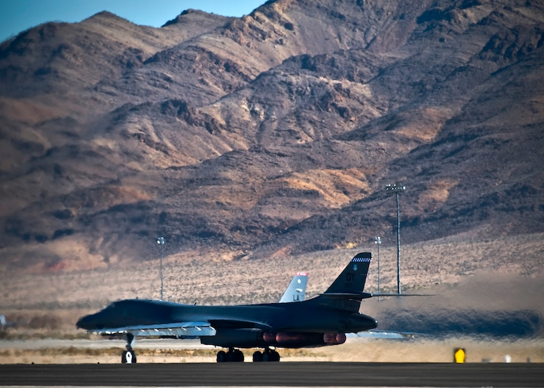 A U.S. Air Force B-1B Lancer assigned to Dyess Air Force Base, Texas, departs for a training mission over the Nevada Test and Training Range during Red Flag 13-2, Jan. 22, 2013, at Nellis Air Force Base, Nev. The exercise is hosted north of Las Vegas on the Nevada Test and Training Range. (U.S. Air Force photo/Senior Airman Brett Clashman)
