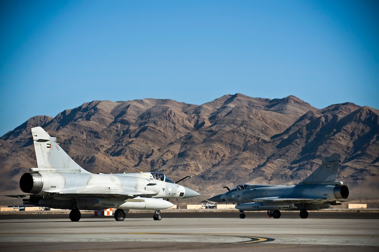 United Arab Emirates Air Force Mirage 2000-9s prepare to depart for a training mission during Red Flag 13-2, Jan. 22, 2013, at Nellis Air Force Base, Nev. The UAE Air Force is participating in RED FLAG 13-2 to maximize air combat readiness in a realistic training environment. (U.S. Air Force photo/Senior Airman Brett Clashman)