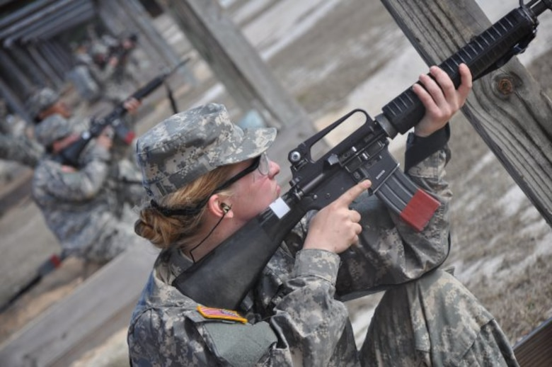 Pvt. Cicely Verstein practices marksmanship on a Fort Jackson rifle range earlier this week. Verstein will be the first female 91M Bradley Fighting Vehicle System maintainer, one of six military occupational specialties previously restricted to men. (U.S. Army photo by Wallace McBride/Released)
