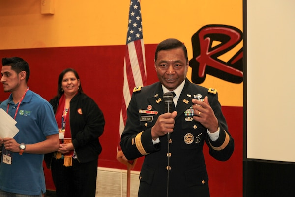 U.S. Army Corps of Engineers Commanding General Lt. Gen. Thomas P. Bostick, delivers last minute instructions to science, technology, engineering and mathematics students at Roosevelt High School in Los Angeles Jan. 18. Bostick and Deputy Commanding General for Civil and Emergency Operations Maj. Gen. Michael J. Walsh, South Pacific Division Commander Brig. Gen. Michael C. Wehr and his district commanders visited the school during Great Minds in STEM's Viva Technology Day.