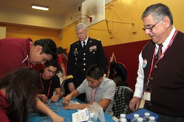Deputy Commanding General for Civil and Emergency Operations Maj. Gen. Michael J. Walsh looks on during Great Minds in STEM's Viva Technology Day at Roosevelt High School in Los Angeles Jan. 18. According to the U.S. Bureau of Labor Statistics, more than half of the 30 fastest-growing occupations through 2018 are STEM-related. Environmental engineers are leading the way at an expected 31 percent job growth.
