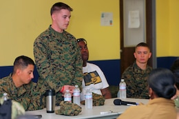 Sgt. Jordan Williams, 3rd Light Armored Reconnaissance Battalion, shares his deployment experiences during a pre-deployment brief at the Naval Expeditionary Medical Training Institute here Jan. 24.