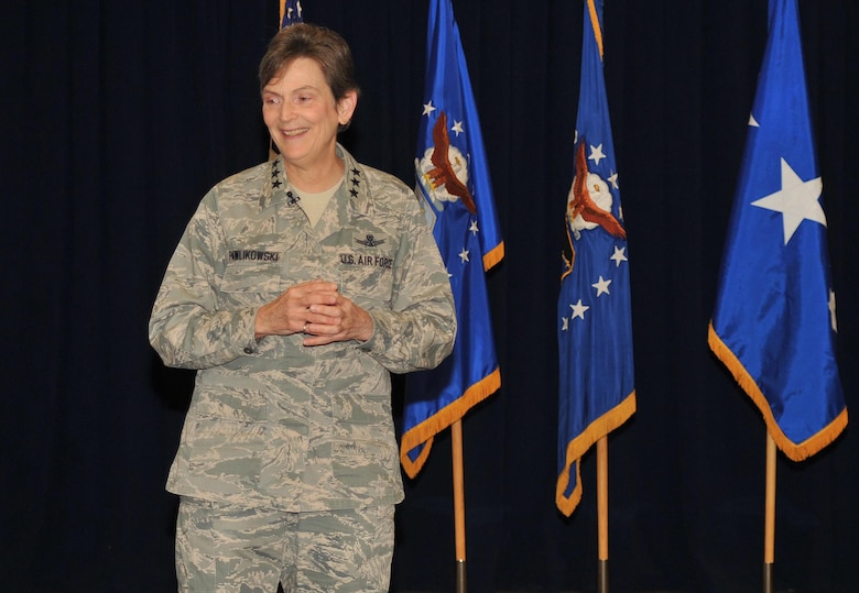 Lieutenant General Ellen Pawlikowski speaks at the Welcome Home Airmen ceremony, Jan. 24.  (Photo by Sarah Corrice)
