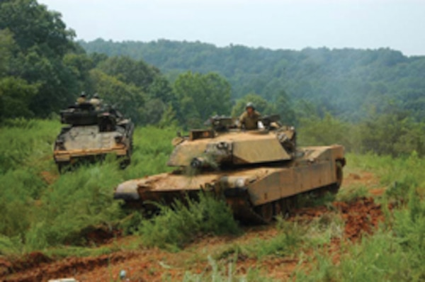 Armored training maneuvers at Fort Benning, Ga. In an effort to consolidate resources, the U.S. Army recently moved their Armor School to Fort Benning.