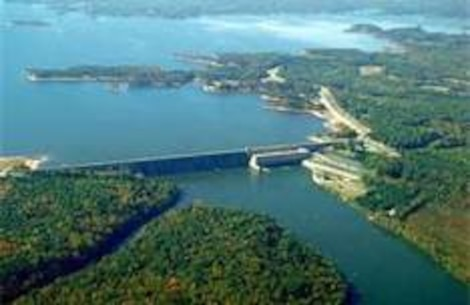An aerial view of the U.S. Army Corps of Engineers' John H. Kerr Dam and Lake. The Corps is examining possible modifications to the operations of John H. Kerr Dam and Reservoir on the Roanoke. Corps and Conservancy staff and other stakeholders are helping to define environmental strategies as part of water management plans. The goal is to enact an adaptive management policy for the river that supports the continual use of scientific knowledge in water release decisions.