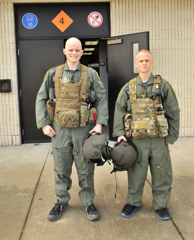 Coleton Wells on left along with his best friend Zachary Kalish, both Air Force Junior ROTC cadets are all suited up ready to join Airmen from the 920th Rescue Wing on a local training flight aboard a HH-60G Pave Hawk rescue helicopter. Wells is in a battle for his life, he is fighting stage 4 cancer. (U.S. Air Force photo/Tech. Sgt. Peter Dean)