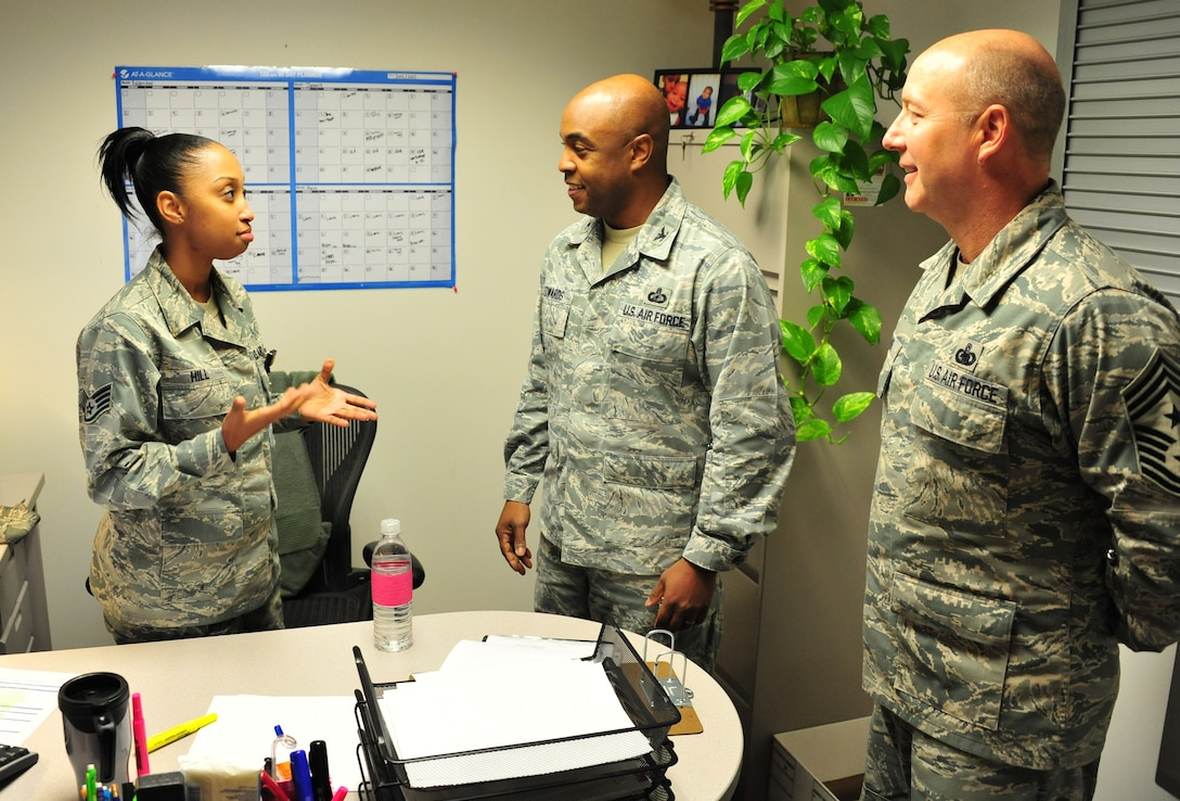 Senior Airman China Ivie describes her job in the 42nd Medical Group