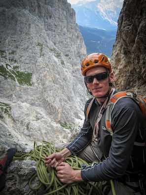 Capt. Lucas Gruenther, 31st Fighter Wing chief of flight safety, is pictured mountain climbing in Italy. Gruenther was declared missing during a nighttime training mission Jan. 28.