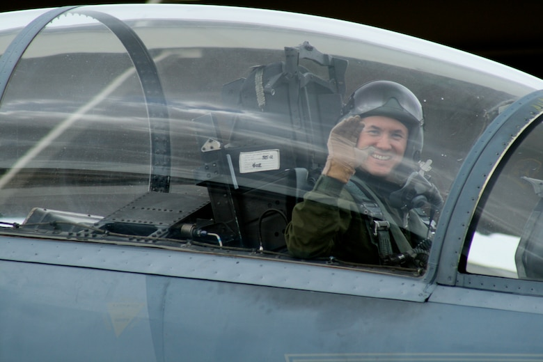 Lt. Col. (Dr.) Jay Flottmann, a former flight surgeon and now fully qualified F-22 Raptor pilot and 325th Fighter Wing chief of flight safety, shown here in an F-15 Eagle, is the first pilot-physician to drive the F-22. (Courtesy photo)