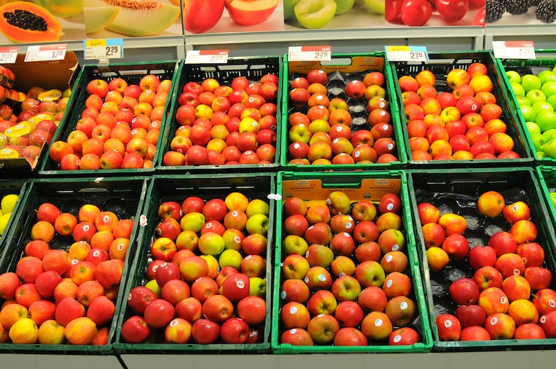 SPEICHER, Germany – Produce sits at a supermarket Jan. 29, 2013. Every supermarket carries a large variety of fruit, vegetables and salads, including some organic products. These items are usually located in the front of the market. People can pick the items, weigh them on a scale and place them in plastic bags that are available in the section. (U.S. Air Force photo by Iris Reiff/Released)