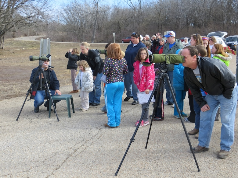 More than 100 people attended the Perry Lake Eagles Day on Jan. 26, 2013. It was sponsored by the Jayhawk Audobon Society, Lawrence Parks and Recreation--Prairie Park and Nature Center and the Kansas City District U.S. Army Corps of Engineers. The event boasted live eagle presentations, black-footed ferret restoration efforts and guided eagle-viewing tours.
