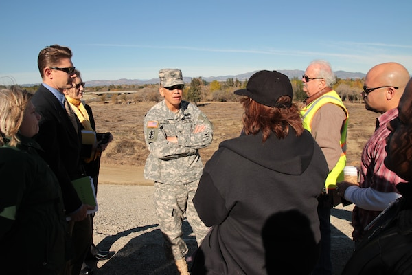 Col. Mark Toy, commander of the Army Corps' Los Angeles District, receives a Jan. 7 briefing and inspects the area in Sepulveda Basin where vegetation removal in early December 2012 led to concerns from environmentalists and local residents.