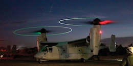 An MV-22 Osprey prepares for take off for night low-altitude training Jan. 24 on Antonio Bautista Air Base in Puerto Princesa, Palawan, Republic of the Philippines. Ospreys conducted day and night low-altitude training Jan. 23-24 in the Republic of the Philippines, marking the Marine Corps' first Osprey training in the Republic of the Philippines and the first low-altitude training the pilots and crew have conducted since the aircraft's Oct. 2012 arrival to Okinawa. The Osprey is with Marine Medium Tiltrotor Squadron 265, Marine Aircraft Group 36, 1st Marine Aircraft Wing, III Marine Expeditionary Force.