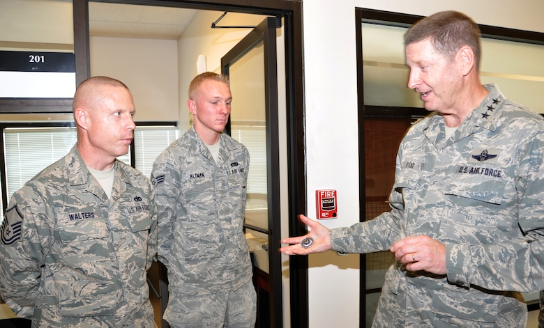 The 12th AF commander toured various areas of the 301st Fighter Wing visiting with Airmen and listening to their questions about the current state of affairs. Some Airmen recieved personal kudos from Lt Gen Rand for their superior performance.