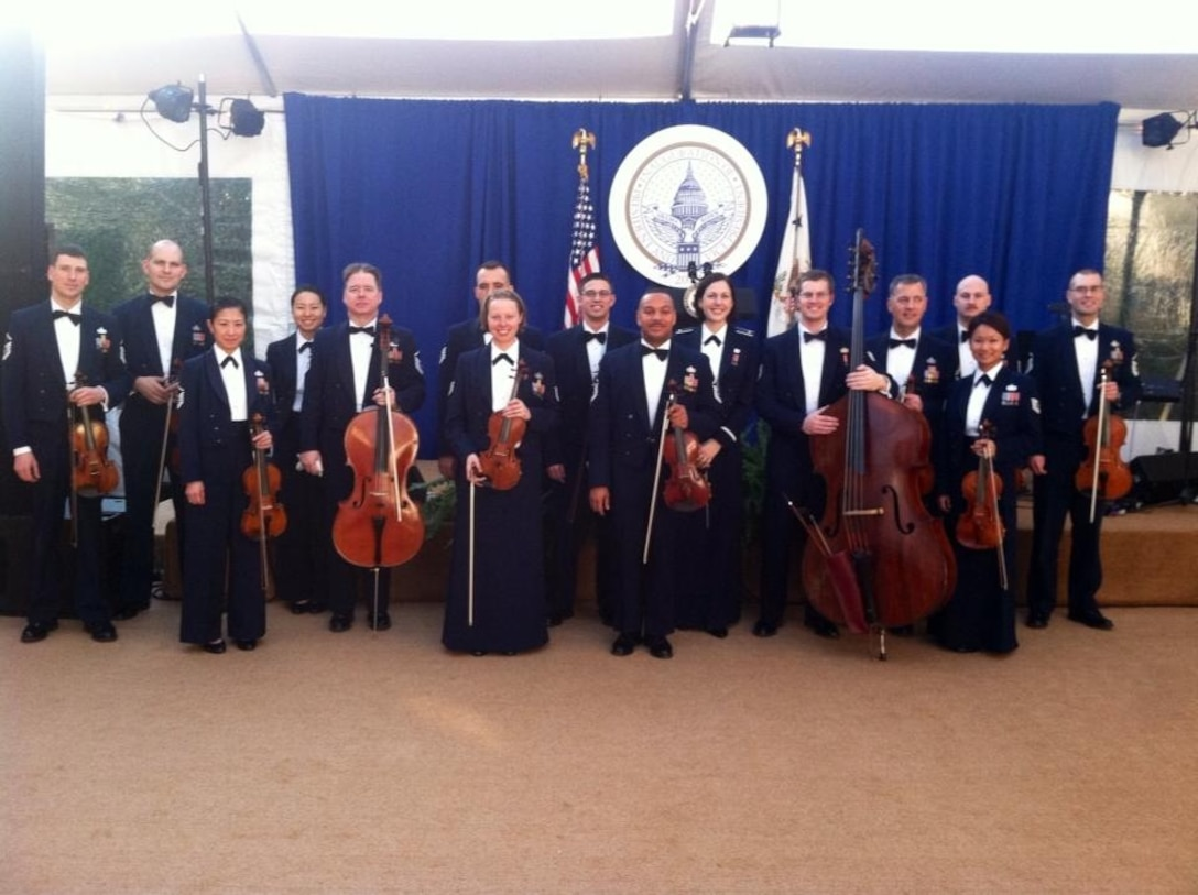 The Air Force Strings provided entertainment for an inaugural reception at Vice President Biden's residence on Jan. 20.