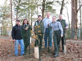 Green River Lake staff members Tyler Royce, Lori Brewster, Larry Lemmon, David Wethington, Andrea O'Bryan and Jim Goode stand next to a newly-planted chestnut tree.