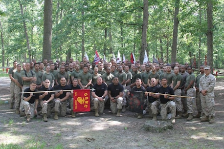 Marines of Marine Corps Recruiting Station New York pose for a group photo during training at Joint Base McGuire-Dix-Lakehurst in New Jersey May 31. During the training, the Marines completed the obstacle and confidence course, followed by a mess night in the evening.